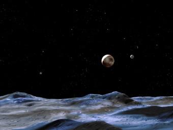 Rappresentazione artistica di Plutone e, alla sua destra, di Caronte, la sua luna più grande. Crediti: NASA / ESA / G. Bacon (STTcI)
