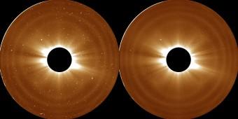 E' grazie a riprese come queste, ottenute dalla missione STEREO della NASA che chi scienziati sono riusciti a ridefinire l'estensione della corona, lo strato più esterno che compone l'atmosfera solare. Crediti: NASA/STEREO