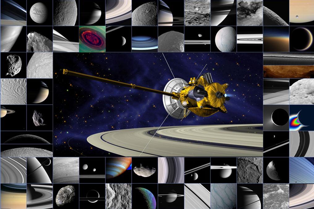 Un collage di vari risultati scientifici ottenuti in questi 10 anni dalla sonda Cassini-Huygens.