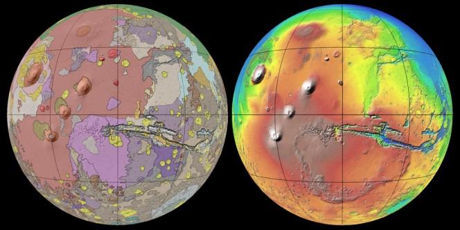 """Una proiezione della mappa morfologica (sx) a confronto con una vista altimetrica (dx), dove a colori più """"caldi"""" corrispondono maggiori altezze. Crediti: USGS"""