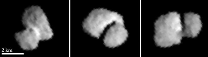 La cometa 67P/Churyumov-Gerasimenko osservata il 20 luglio 2014 dalla camera OSIRIS da una distanza di circa 5500 km. Le immagini sono state ottenute a distanza di circa 2 ore una dall'altra e hanno una risoluzione di circa 100 m per pixel. credits: ESA/Rosetta/MPS for OSIRIS Team MPS/UPD/LAM/IAA/SSO/INTA/UPM/DASP/IDA