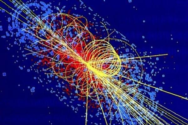 Rappresentazione del Bosone di Higgs, particella elementare osservata per la prima volta lo scorso 2012 negli esperimenti ATLAS e CMS, condotti con l'acceleratore LHC del CERN di Ginevra.