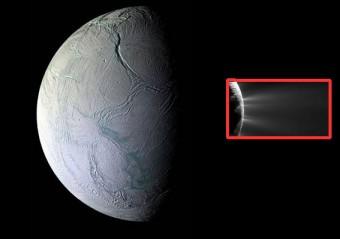 Un montaggio delle immagini della camera di Cassini con il ritratto di Encelado, con le sue tiger stripes, e nel riquadro, i plumes, getti di vapori scoperti nel 2005.