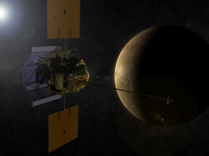 Rappresentazione artistica della sonda Messenger in orbita attorno a Mercurio. Crediti: NASA