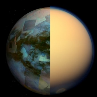 Un montaggio delle immagini degli strumenti di Cassini che mostra Titano visto nel visibile (a destra) e nell'infrarosso.