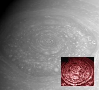 Il vortice esagonale al polo nord di Saturno visto nel visibile e, nel riquadro, nell'infrarosso.