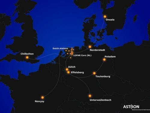 Le stazioni LOFAR in Europa. Crediti: ASTRON, The Netherlands