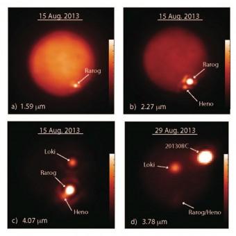 Immagini di Io ottenute a diverse lunghezze d'onda dal telescopio Keck II il 15 agosto 2013 (a-c) e dal Gemini Nord il 29 agosto 2013 (d). Crediti: Imke de Pater & Katherine de Kleer / UC Berkeley / Gemini / Keck