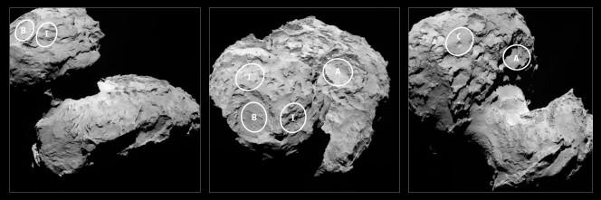 I 5 candidati per l'atterraggio di Philae identificati da Rosetta sulla cometa 67P/Churyumov-Gerasimenko. I 5 luoghi sono identificati su un'imagine catturata il 16 Agosto dalla camera OSIRIS narrow-angle camera da una distanza dalla cometa di 100 km (il nucleo misura circa 4 Km). I luoghi sono identificati dalle lettere A, B, C I e J, nominati non in ordine di preferenza: B, I e J sono situati sul lobo più piccolo mentre A e C sono sul lobo più grande della cometa. Crediti: ESA/Rosetta/MPS for OSIRIS Team MPS/UPD/LAM/IAA/SSO/INTA/UPM/DASP/IDA