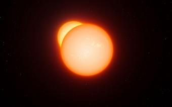 Rappresentazione artistica di una binaria eclissante.  Crediti: L. Calcada/ESO