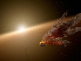 Rappresentazione artistica dell'impatto fra due grandi corpi rocciosi e della nube di polvere generata. Crediti: NASA/JPL-Caltech