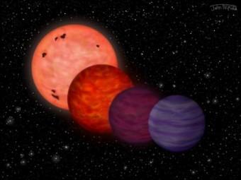 rappresentazione artistica dell'evoluzione dell'oggetto WISE J0304-2705, Da sinistra verso destra sono rappresentate quattro fasi nell'evoluzione della temperatura dell'oggetto studiato