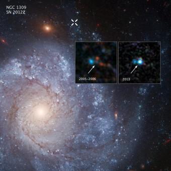 La regione in cui si trova la supernova fotografata da Hubble prima e dopo l'esplosione. Crediti: NASA, ESA