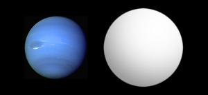 Comparazione tra le dimensioni di Nettuno (a sinistra) e HAT-P-11_b Credits: Open Exoplanet Catalogue
