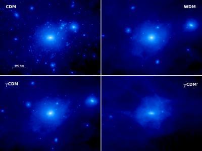 Nei quattro riquadri sono rappresentate altrettante distribuzioni della materia oscura, per galassie analoghe alla nostra Via Lattea, ricostruite simulando materia oscura non interagente (in alto a sinistra), materia oscura calda (in alto a destra ) e infine il nuovo modello basato su materia oscura che interagisce con i fotoni (i due riquadri in basso). Le strutture più piccole sono mano a mano eliminate fino al punto in cui, nel modello più estremo (in basso a destra), spariscono del tutto, lasciando una galassia completamente sterilizzata. Crediti: Durham University
