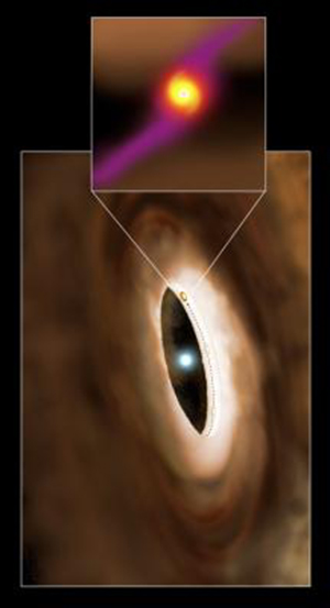 Rendering artistico della giovane stella HD100546, immersa nel disco che la circonda. Lo zoom-in evidenzia il pianeta scoperto dal team di Sean Brittain, della Clemson University, in formazione sull'orbita della stella a una distanza pari a quella che separa Saturno dal Sole. Crediti: P. Marenfeld & NOAO / AURA / NSF.