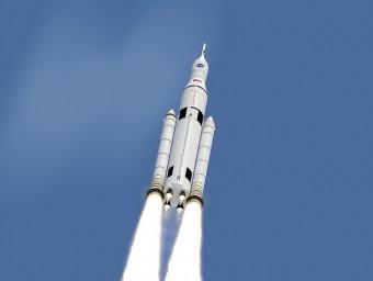 Lo Space Launch System in volo, rendering. Crediti: NASA / MSFC.