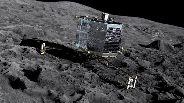 Artist impression del lander Philae atterrato sul nucleo della cometa 67P/Churyumov–Gerasimenko