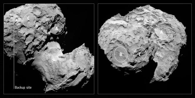 Sito proposto come backup per l'approdo del lander Philae sulla cometa 67P visto nel suo contesto. Credits: SA/Rosetta/MPS for OSIRIS Team MPS/UPD/LAM/IAA/SSO/INTA/UPM/DASP/IDA