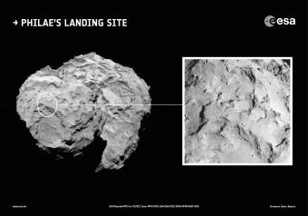 Sito primario di approdo del lander Philae sulla cometa 67P visto nel suo contesto. Credits: SA/Rosetta/MPS for OSIRIS Team MPS/UPD/LAM/IAA/SSO/INTA/UPM/DASP/IDA