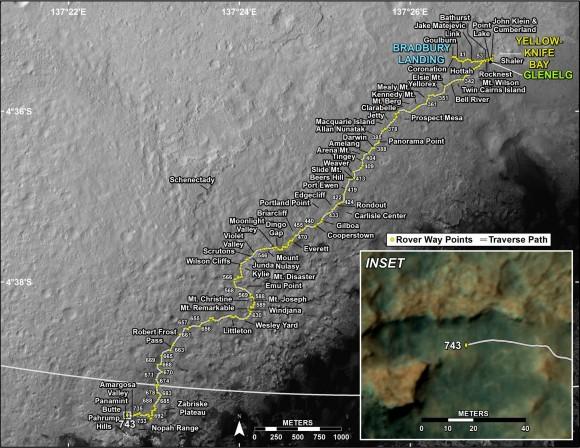 Il percorso di Curiosity dalla Bradbury station (luogo di atterraggio, nel Sol 1) fino al giorno marziano Sol 743. L'annuncio che Curiosity aveva raggiunto la base del Monte Sharp è arrivata Sol 746. (Crediti: NASA / JPL)