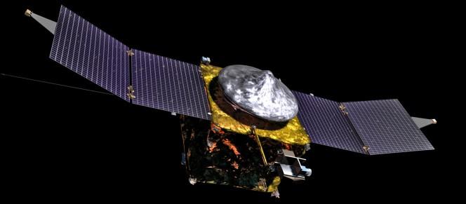 Un rendering del NASA Mars Atmosphere and Volatile Evolution (MAVEN) spacecraft. Crediti: NASA / GSFC.