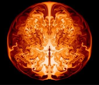 Un fotogramma preso dalla simulazione in cui è riprodotta l'esplosione di una supernova originata da una stella 55.000 volte più massiccia del Sole. Crediti: Ken Chen, University of California at Santa Cruz