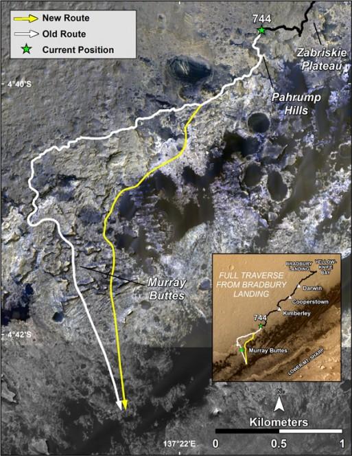L'immagine di Immagini HiRISE sul MRO mostra la vecchia e la nuova traiettoria di Curiosity. (Crediti: NASA / JPL-Caltech / Univ of Arizona)