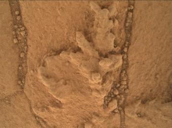 Questa immagine (che copre una zona larga circa 2 cm) ripresa dalla fotocamera Mars Hand Lens Imager (MAHLI) di Curiosity mostra un esempio delle formazioni geometricamente distintive che i ricercatori stanno esaminando sull'affioramento di roccia sedimentaria alla base del Mount Sharp. Prendono origine dall'accumulo di materiali resistenti all'erosione, come quando sulla Terra si concentrano minerali nell'evaporazione di acque poco profonde. Crediti: NASA /JPL-Caltech /MSSS