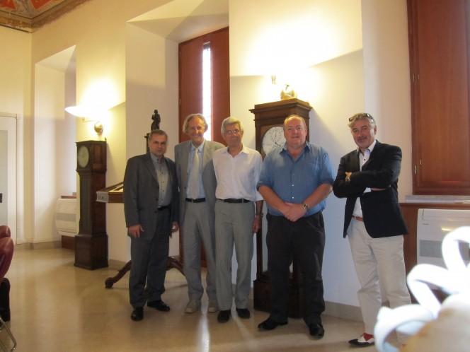 Da dx: Anton Zensus, Andrea Ferrara, Giovanni Bignami, Philip Diamond, Michael Garret