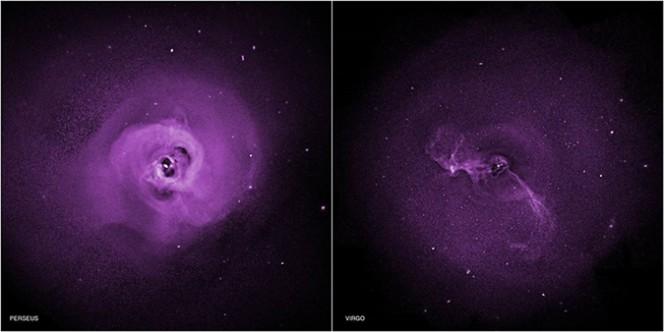 I dati raccolti da Chandra osservando gli ammassi di galassie in Perseo e nella Vergine, suggeriscono che turbolenze interne agli ammassi impediscano ai gas caldi di raffreddarsi, dirimendo una vecchia questione sulle formazioni stellari. Crediti: NASA / CXC / Stanford / Zhuravleva et al.