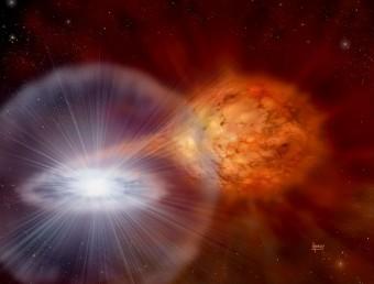 Rappresentazione artistica di una nova, con la nana bianca (sx) su cui cade un flusso di idrogeno estratto da una stella compagna (dx). Crediti: David. A. Hardy / astroart.org / STFC