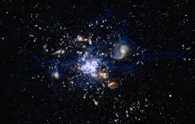 In questa rappresentazione artistica si vede la formazione di un ammasso di galassie nell'Universo primordiale. Questa scena ricorda molto la galassia Tela di Ragno (Spiderweb in inglese; formalmente nota come MRC 1138-262), uno degli ammassi meglio studiati, e la zona circostante. Crediti: ESO/M. Kornmesser