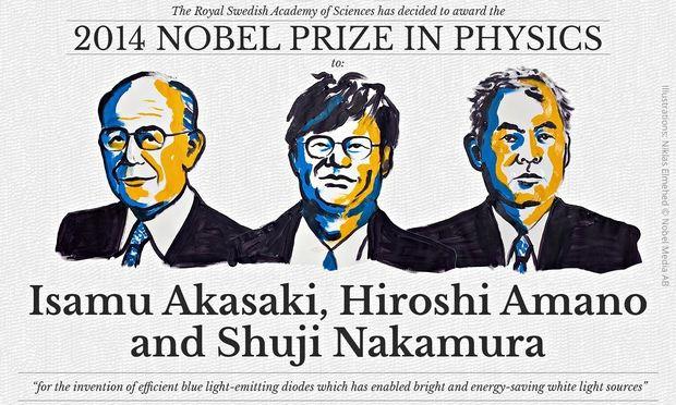 Il Nobel per la Fisica 2014 è stato assegnato a Isamu Akasaki (della Meijo University, Giappone), a Hiroshi Amano (della Nagoya University, Giappone) e a Shuji Nakamura (University of California, Santa Barbara, USA)