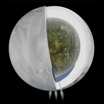 Spaccato dell'interno di Encelado così come lo si può ipotizzare in base ai dati raccolti da Cassini. Dati che suggeriscono un guscio esterno ghiacciato, un nucleo roccioso poco denso e, nel mezzo, verso il polo sud e dunque al di sotto dei pennacchi, un oceano d'acqua. Crediti: NASA/JPL-Caltech