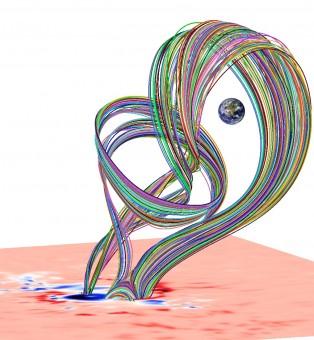 Eruzione della corda magnetica nel modello dinamico METEOSOL dopo la sua separazione dallo stato di equilibrio. Crediti: Tahar Amari / CNRS
