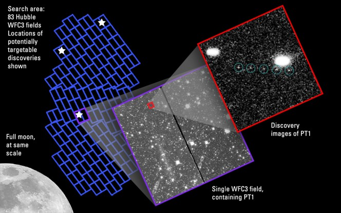"""Ecco il KBO """"assolutamente raggiungibile"""", grande qualche decina di chilometri e denominato 1110113Y o """"PT1"""", individuato grazie ad esposizioni multiple effettuate dal Telescopio Spaziale Hubble, che permettono di distinguerlo dall'affollato campo di stelle retrostante. Crediti: NASA, ESA, SwRI, JHU/APL, New Horizons KBO Search Team"""