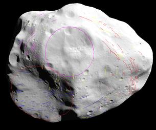 Evidenza della corelazione tra i solchi sulla superficie di Lutetia Credit: ESA