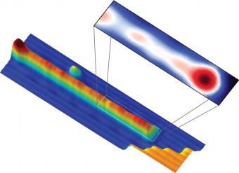 """La """"collana"""" di atomi di ferro e, ingrandita, la rappresentazione cromatica, in base alla topologia, della probabilità quantistica di trovarvi il fermione di Majorana. Crediti: Yazdani Lab, Princeton University"""