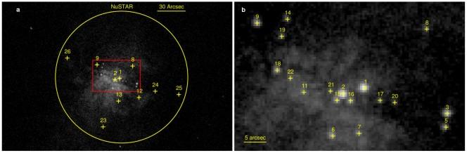 Immagine  della regione centrale della M82 . All'interno di questa regione, 24 fonti puntuali di raggi X, tra cui X-1 e X-2. Il pannello b mostra una vista allargata della regione centrale. Le croci verdi indicano le posizioni delle sorgenti puntiformi identificate.