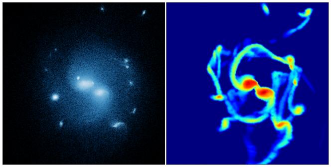 Il risultato delle simulazioni: a destra, la distribuzione in falsi colori dell'idrogeno. Credit: Matteo Tomassetti, University of Bonn