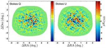 Misure della polarizzazione del fondo osmico compite da POLARBEAR. Crediti: POLARBEAR