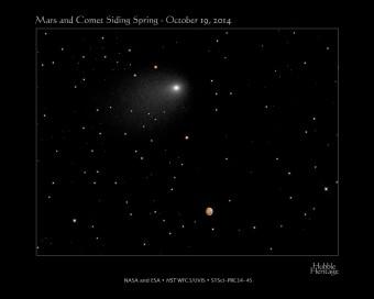 La cometa dell'anno Siding Spring: Hubble ha scattato due foto separate unite poi da un team della NASA. La distanza tra i due nel momento del massimo avvicinamento è di circa 1.5 arcominuti. Crediti: NASA, ESA, J.-Y. Li (PSI), C.M. Lisse (JHU/APL), and the Hubble Heritage Team (STScI/AURA)