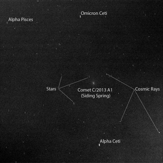 L'immagine è stata scattata dalla Pancam montata sul rover della NASA Opportunity: la cometa C/2013 A1 Siding Spring ha effettuato il primo flyby vicino il pianeta Marte lo scorso 19 ottobre 2014. Credit: NASA/JPL-Caltech/Cornell Univ./ASU/TAMU