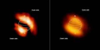 Le mappe delle concentrazioni di isocianuro di idrogeno a sinistra) osservazioni di ALMA mostrano nella alta atmosfera di Titano concentrazioni di