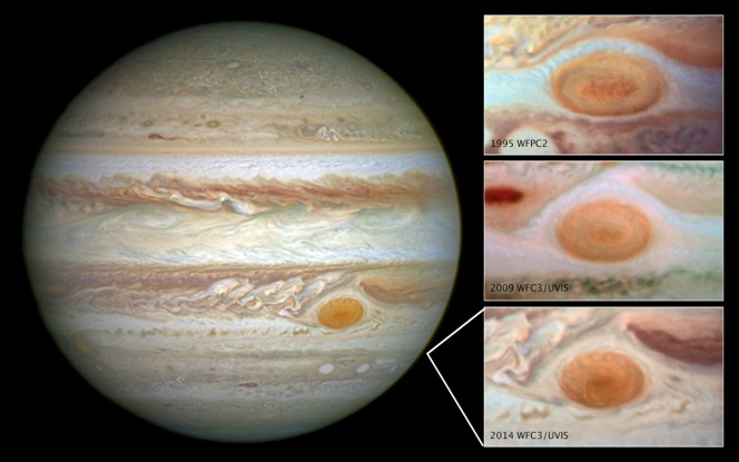 Giove e la Macchia ripresi in diversi momenti dal Telescopio Spaziale Hubble. Crediti: NASA, ESA, A. Simon (Goddard Space Flight Center)