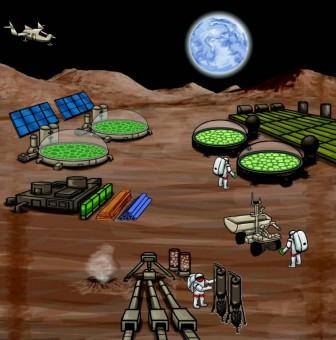 Biomanufacturing a base microbica, la nuova frontiera dell'esplorazione spaziale per missioni umane su siti extraterrestri. Crediti: Royal Academy Interface.
