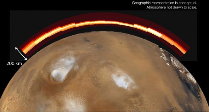 La sonda MAVEN ha studiato le variazioni chimiche in atmosfera, rilevando anche parte della composizione cometaria. Crediti: NASA/JPL, University of Colorado