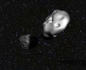 La coppia di asteroidi Patroclus-Menoetius, nel rendering di un artista.