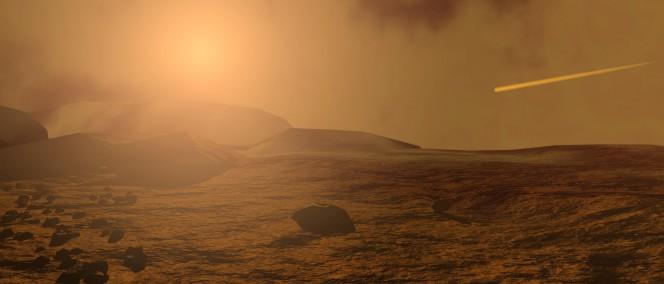 Il cielo su Marte nel rendering di un artita. Crediti: Medialab, ESA 2001.